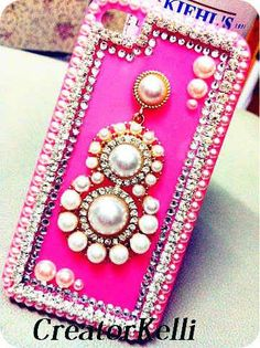 gypsy style hot pink iphone cases bling rhinestone pearl cute iphone 5 case i phone 4 case 4s case bling iphone cover.