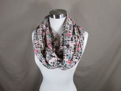 Infinity Scarf in Pink Doll Print Handmade Lightweight Scarf Spring Scarf Summer Scarves