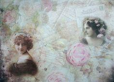 Rice Paper for Decoupage Decopatch Scrapbooking Sheet Craft Vintage Gilrls Pink