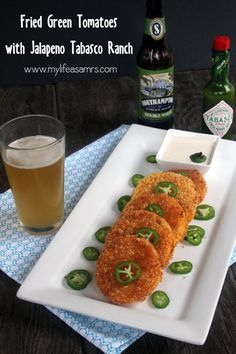 Fried Green Tomatoes with Jalapeno Tabasco Ranch Dipping Sauce; A panko Crust And Chilies Give This Southern Classic A Crunchy Kick!   {www.mylifeasamrs.com}