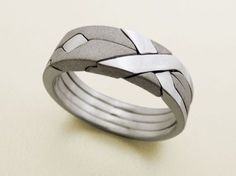 SOLID MATTE  Unique Puzzle Rings by by PuzzleRingMaker on Etsy