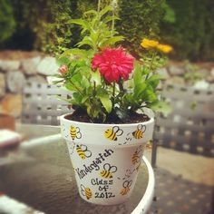"""Thank you gift for my parent volunteers, the bees are my students thumb prints!! Will be accompanied by a note: """"Thank you for bee-ing so helpful!"""""""