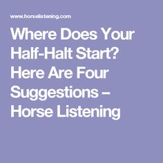 Where Does Your Half-Halt Start? Here Are Four Suggestions – Horse Listening
