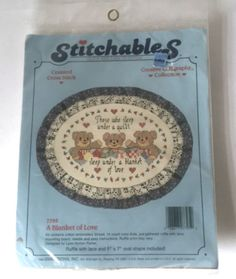Dimensions Stitchables 7795 Counted Cross Stitch Kit A Blanket of Love Bears Calligraphy Vintage