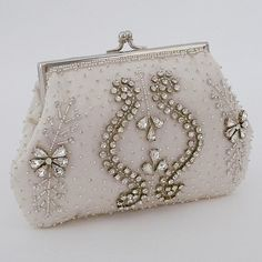 Moyna beaded bridal purses & clutches. Small Rhinestone Trimmed Clutch, the perfect accessory for the bride. Find it at Perfect Details.