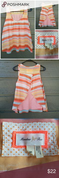 Anthropologie Meadow Rue Striped Coral Top Gorgeous back! Excellent condition  Feel free to ask me any additional questions! No trades, or modeling. Happy Poshing! Anthropologie Tops