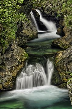 Waterfall, Val Noana creek, near Fiera di Primiero, Italian Dolomites.