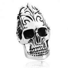 Titanium Super Big Punk Skull Ring