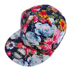 f95f208dc8f ZLYC Women Fashion Floral Print Adjustable Casual Snapback Baseball Cap Hat  (Navy) at Amazon