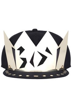 #Romwe Beaded Hollow-out Crown Black Snapback Cap