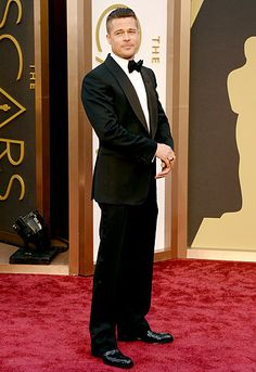 Brad Pitt The 12 Years a Slave star looked smashing in a Tom Ford tuxedo and slicked back hair.