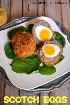 Scotch Eggs Recipe- A traditional English recipe has met its Italian match. Hard boiled egg encased with sausage, Dijon mustard, seasoned bread crumbs and Parmesan cheese. | #scotcheggs | www.savoryexperiments.com