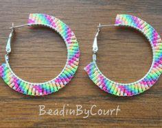 Native American Beaded Hoop Earrings by eleumne on Etsy