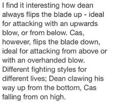 Dean and Cas' fighting styles have just been overthought into oblivion.