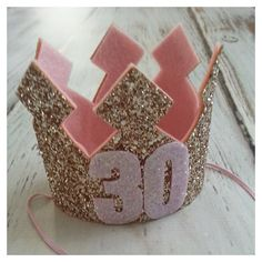 Pink and Gold Glittery 30th Birthday Crown by Kutiebowtuties More
