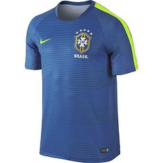fdb05db21a5 NIKE Men s Nike Brasil CBF Pre-Match Flash II Soccer Short-Sleeve Shirt.