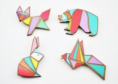 Image of Geometric animal brooches ( 4 Designs) cute buuuut -you can just make these with some different colored peices of clay molded together, then trace the edges in gold nail polish when dry, and have a final coating of clear nail polish... and super glue it to a saftey pin! or use it as a pendat