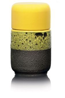 ETTORE SOTTSASS (1917-2008)  MODEL 198 VASE AND COVER, 1959-1960-  produced by Bitossi, for Il Sestante, stoneware, with partial volcanic glaze  5¾ in. (15 cm.) high  underside painted Il Sestante, Sottsass, Italy,