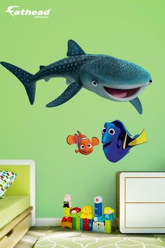 This Finding Dory Movie removable vinyl wall decal is the perfect for die-hard fans. SHOP  http://www.fathead.com/disney/finding-nemo/destiny-finding-dory-wall-decal/ | Home Decor On A Budget | Disney DIY Girls Bedroom Decor | New Baby Ideas | Peel + Stick Wall Murals | Nursery Decor