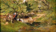 Dipping the Sheep ~ by British artist Charles James Lewis (1830-1892)
