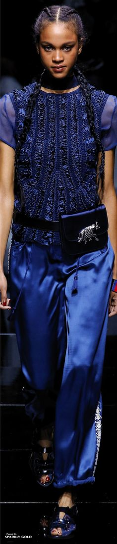 Emporio Armani Spring 2017 RTW  Looking for more blue fashion & street style ideas? Check out my board: Blue Street Style by @aureliansupply  Street Style // Fashion // Spring Outfit // Style Ideas
