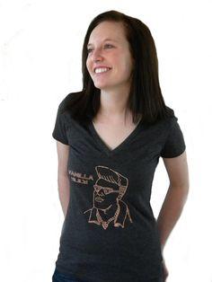 Women's Vanilla Slice V-neck T-shirt  Slice Slice by (vanilla Ice pizza shirts)
