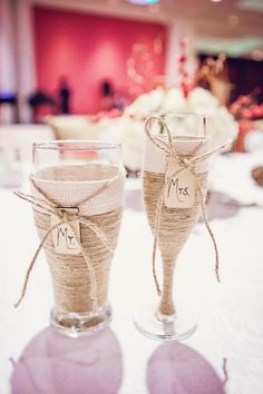 Rustic Mr and Mrs glasses