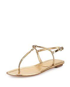Metallic+Flat+Thong+Sandal,+Platino+by+Prada+at+Neiman+Marcus.