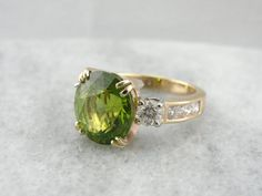 Lime Leaves Handmade Gold and Peridot Cocktail Ring 6RKPHZ-R