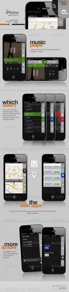 Web Elements - Phone UI Nightlife Edition | GraphicRiver