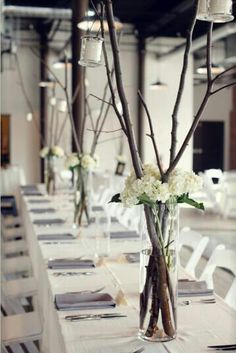 Vintage and rustic table decorations for wedding.