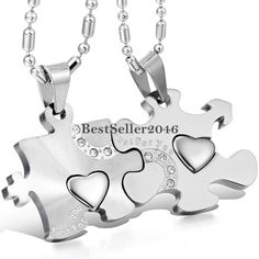 2f81b40f7d 2pcs Fashion Stainless Steel Heart Couple Women Men Necklaces Pendant Chain  Gift | eBay