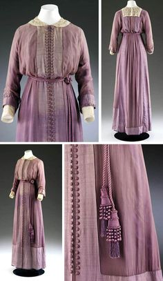 """Afternoon dress, Mascotte, London, ca. 1912. Purple silk chiffon over purple silk. Facings effect in soft & opaque silk with rows of closely spaced parallel buttons down front. Silk rope belt with tassels. Grosgrain inner waist stays & boning, and lace- & whitework-embroidered collar & cuffs. Victoria & Albert Museum: """"This dress shows the new slim line and tubular skirt of the 1910s ... Decorative ties such as these were highly fashionable and demonstrate an Eastern influence."""""""