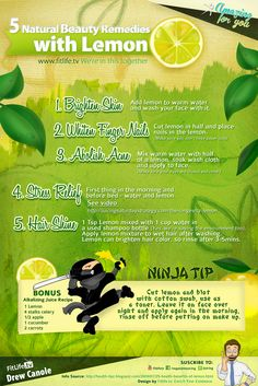 5 Natural Beauty Tips With Lemon #Juice Recipe #fitlife #witt Check out http://www.facebook.com/vegetablejuicing for more pics like this!