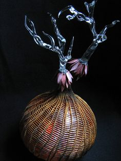 Cathy Strokowsky, Blown Glass,flameworked glass, woven artificial sinew