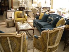 These are images from High Hill, which is in Amman Jordan. Some of the items are: 320-21 Eton Chair; 230-17 Atheneum Sofa with Plain Arm U Upholstered Legs; and 5408-55 Rensi Wing Chairs made by Hickory Chair Company.