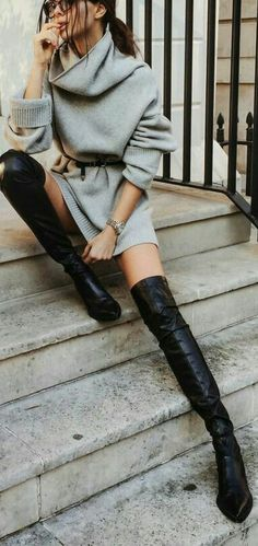 "dba389cf934 parisfashionn  ""Sweater Dress Black Suede Tie Back Chunky Heel Thigh High  Boots """