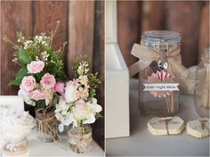 Pink and white, country vintage feel.
