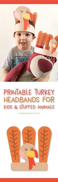 Turkey Headband Printable Craft for Kids (& Stuffed Animals) | Fun Thanksgiving Activities for Preschool, Kindergarten