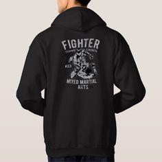 Men/'s MMA Karate Figures Charcoal Raglan Hoodie Fighting Martial Arts Jiu Jitsu