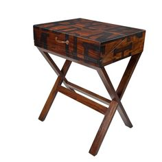 A contemporary Laptop Desk by Designer Steven Shell. Made from solid mahogany and finished in a black and mahogany paint combination with hand-painted letter artwork. The desk has a pull-out shelf to expand the workspace and a neatly fitting lid.