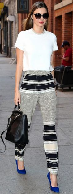 love the pants w/ the neutral top and bright blue heels