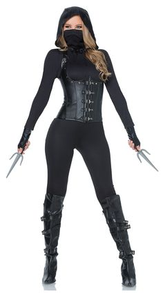 Slip into the night wearing one of these sexy ninja costumes and you will definitely not go unnoticed. Yandy has tons of sexy ninja costumes for Halloween. Assassin Costume, Warrior Costume, Army Costume, Dark Costumes, Costumes For Women, Simple Costumes, Disfraz Ninja Sexy, Ninja Halloween Costume, Halloween Ideas