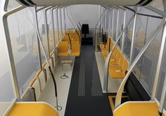 This right here is a bus made for everyone who is anyone. Everyone can ride this bus, no matter how they get around, no matter what Bus Interior, Bus Shelters, Future Transportation, Bus Travel, Yanko Design, Cool Inventions, Urban Planning, Automotive Design, Public Transport