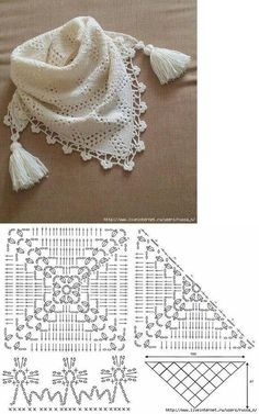 New Crochet Lace Scarf Ganchillo 63 Ideas Poncho Au Crochet, Crochet Lace Collar, Bonnet Crochet, Crochet Cowl Free Pattern, Crochet Motifs, Crochet Diagram, Crochet Scarves, Irish Crochet, Crochet Stitches
