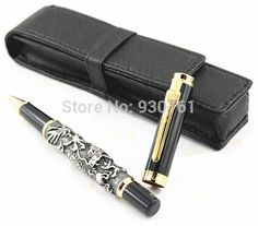 Jinhao High Quality New Desige black Flying Dragon Noblest Roller Ball Pen Luxury leather bag Free Shipping