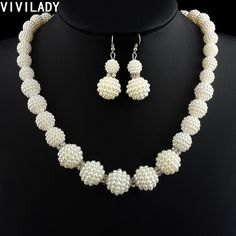 VIVILADY African Handmade Simulated Pearl Beads Jewelry Set Women Rhinestone Necklace Earrings Mother Party Bridal Wedding Gifts