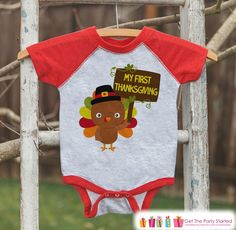 My First Thanksgiving Outfit - Baby Turkey Shirt - Boy or Girl Happy 1st Thanksgiving - Red Raglan Shirt or Onepiece - Newborn Thanksgiving