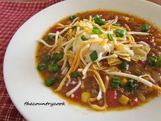 The Country Cook: Taco Soup {Slow Cooker}--best EVER! <3 this stuff!