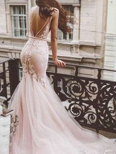 Stunning pink tulle mermaid wedding dress features see through v neckline and lace bodice. Finished with zipper closure and pink tulle court train.    Applique  Neck    Train  Details:Zipper Backless Mermaid Wedding Dresses, Western Wedding Dresses, Pink Wedding Dresses, Wedding Dress Chiffon, Wedding Dress Sizes, Designer Wedding Dresses, Bridal Dresses, Wedding Gowns, Bridesmaid Dresses